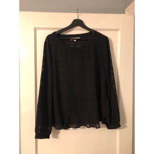 LOFT plaid black blouse size XL